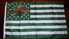 Minnesota Wild 3x5 American Flag. Us seller. Free shipping within the Us!