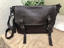 J Crew Vintage Brown Leather Laptop Messenger Bag Saddle Shoulder XL VGC