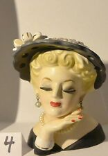 """Vintage INARCO Made in Japan Lady Head vase 5"""" with hand"""