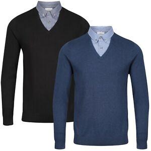 NEXT™ Mock Shirt Jumper New Mens Button Collar Mock Shirt V Neck Long Sleeve Top