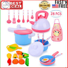 Kids Kitchen Pretend Play Accessories Toys, Cooking Set, Pots and Pans, Cookware