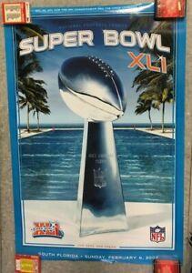 Super Bowl XLI February 4 2007 Vince Lombardi Trophy POSTER AFC VS NFC SEALED