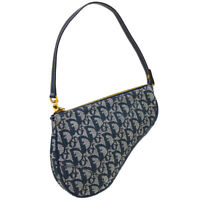 Christian Dior Trotter Pattern Saddle Hand Bag Pouch MC1011 Navy Canvas 37832