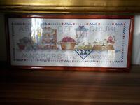 tableau ANCIEN ABÉCÉDAIRE brodé POINT DE CROIX cuisine FRUITS confiture ENCADRE
