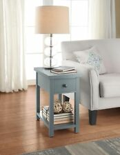 Square End Table with Drawer Small Living Room Furniture Side Storage Shelf Wood
