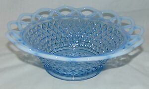 """Imperial LACED EDGE/ KATY BLUE* BLUE OPALESCENT* 9"""" SERVING/VEGETABLE BOWL*"""
