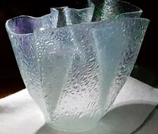 Hand-Crafted Aqua Blue / purple iridescent  vase Art Nuevo