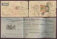 CEYLON 1947 RETURNED LETTER + BANK DRAFT CHEQUE CHARTERED INDIA AUSTRALIA CHINA