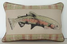 Fish - Trout w/ Brown & Green Border, Machine Embroidered Cotton Pillow New