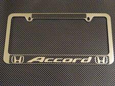 Honda Accord Chrome Metal License Plate Frame Carbon Fiber Chrome Text
