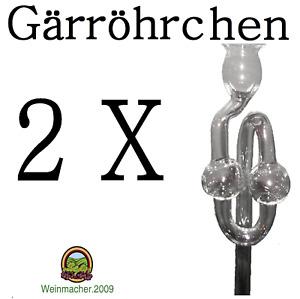 2 Gärröhrchen aus Glas Ø 8,5mm für Gummistopfen oder Gärkappen NEU