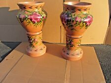 PAIR OF 2 LARGE CUSTOM HAND MADE DECORATIVE POTTERY PEDESTAL PLANTERS