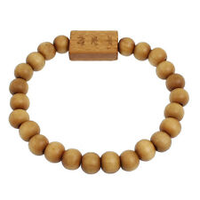 "Brown Wood Beads Character Words Buddha Carved Bracelet 8.2"" Girth HY"