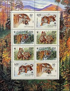 RUSSIA WWF TIGER STAMPS 1993 MNH WILD ANIMALS FAUNA WILDCAT WILDLIFE NATURE