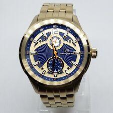 Buech & Boilat 14183 Coureur gold futuristic style quartz watch date subdial