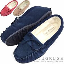 Ladies / Womens Suede Sheepskin Moccasins / Slippers with Wool Lining