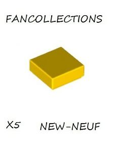 Lego x 5 - Yellow Tile 1x1 with Groove - 3070b NEUF