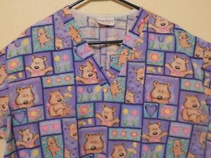 Spring Flowers/Bears Medical/Dental/Vet SCRUB TOP (3X/3XL) by Peaches (good con)
