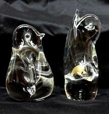 2 x Crystal Penguins Wedgwood Murano Art Glass Italy Clear Paperweights