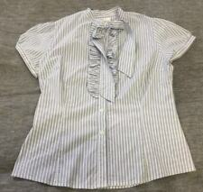 Womens PORTMANS Blue White Stripe Short Cap Sleeve Frills Collared Size 14