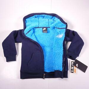 Size 5 Kid's Nike Futura Fleece Full Zip Sherpa 86E406-695 Obsidian