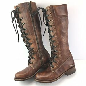Bed Stu Dundee Cobbler Lace Up & Zip Knee High Leather Boots Womens Size 6.5