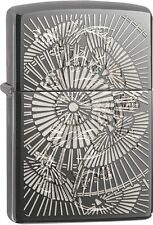 Zippo Asian Floral Black Ice WindProof Lighter NEW 29421