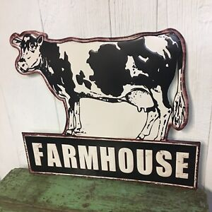 Extra Large Farmhouse Dairy Cow Metal Sign Wall Art Home Decor Milk