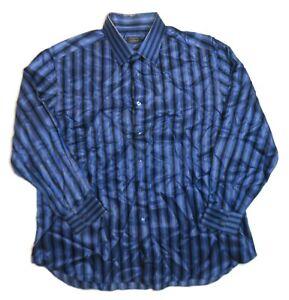 Stefano Ricci 100% Silk Long Sleeve Button Up Dress Shirt Mens XXL Stripe Blue