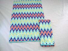 """Hen House Arabesque Aqua Blue Printed Cloth Set of 2 Guest Towels 14"""" X 22"""""""