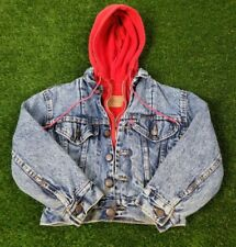 VTG 90s Levis Blue Red Acid Wash Cotton Layered Jean Hoodie Jacket youth Sz  S