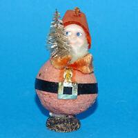 Vintage Santa Claus Elf Christmas Tree Ornament Brush Tree Celluloid Face Japan