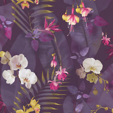 ARTHOUSE PINDORAMA FLOWERS FLORAL TROPICS PLUM QUALITY DESIGNER WALLPAPER 690100