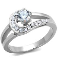 1857 SIMULATED DIAMOND STAINLESS STEEL SOLITAIRE ENGAGEMENT RING PRETTY ELEGANT