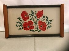 Vintage Cream With Red Posies Reverse Painted Glass Wood Serving Tray