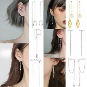 Silver Crystal Long Tassel Cuff Earrings Ear Line Clip Threader Drop Dangle Gift
