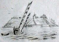 FORTS DE L´ENTRÉE DU TIGRE (Fluss von Macao) - Stahlstich 1834 Sainson / Beyer