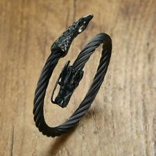 Twisted Cable Dragon Cuff Bracelet For Men Stainless Steel Open Lock Elastic