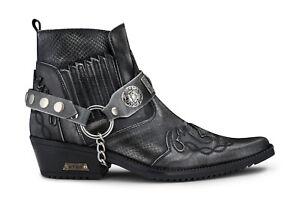 Mens Leather Cowboy Ankle Boots Grey Croc Cuban Biker Punk Winklepickers Western