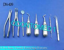 8 Pcs Basic Dental Surgery Extracting Forceps# 150+88R Elevators Set DN-409