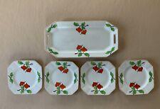 Art Deco Vintage Myott Square Tea/Side Plate set with Floral Design