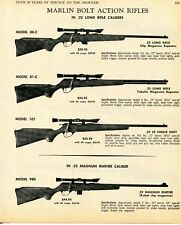 1968 Print Ad of Marlin Model 80-C, 81-C, 101 & 980 Bolt Action .22 Rifle