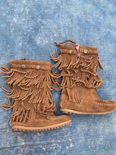 Minnetonka Moccasins Boots 3 Layer Fringe Boots Brown Suede Leather Size 8