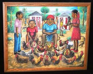 1970s Haitian Acrylic Painting Lady & Roosters by Wilson Bigaud (1931-2010)(HuH)