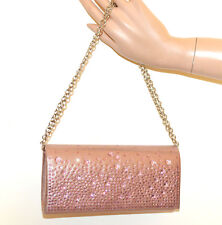 POCHETTE ROSA donna borsa borsello strass borsetta cristalli mini clutch bag G76