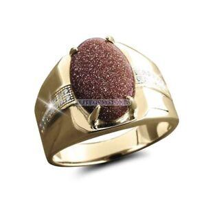 Natürlich Sonnenstein Edelstein Mit Vergoldet 925 Sterlingsilber Herren Ring