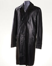 NWT $8995 KITON Black Lambskin Leather Double-Breasted Outer Coat 44 R (Eu 54)
