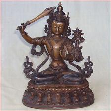 VERY FINE COPPER STATUE GOD OF DIVINE WISDOM MANJUSHREE MANJUSHRI NEPAL