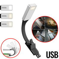 Clip On Book LED Reading Light USB For Bed Portable Night Travel Small Tiny Lamp