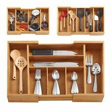 Expandable Bamboo Kitchen Drawer Organizer Storage Box Organizer Utensils Tray